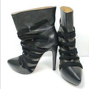 L.A.M.B Gwen Stefani Pipette Black Leather Booties